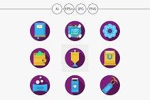 Handmade gifts purple icons. Set 1