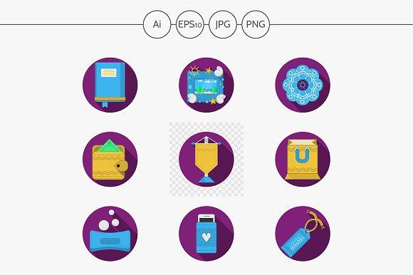 Handmade gifts purple icons. Set 1 - Icons