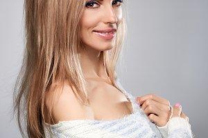 Beauty woman,stylish knitted sweater