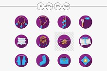Handmade gifts purple icons. Set 2