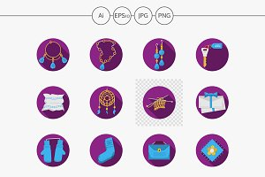 Handmade gifts purple icons. Set 2