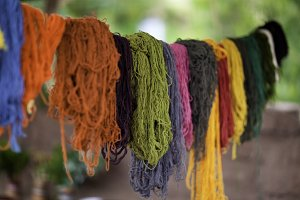 Dyed Alpaca Wool Hanging to Dry