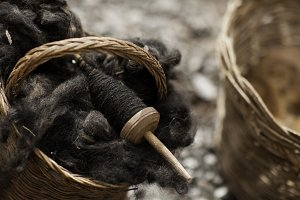 Alpaca Wool on a Wooden Spool