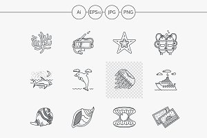 Sea vector icons flat line style