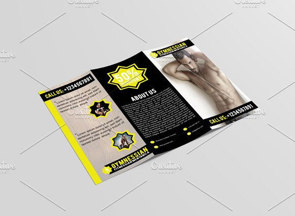 Gymnessian Tri Fold Gym Brochure Brochure Templates on Creative – Gym Brochure