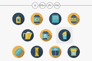 Sport nutrition flat vector icons
