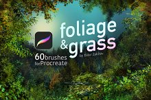 60 Foliage & Grass Procreate brushes by  in Add-Ons