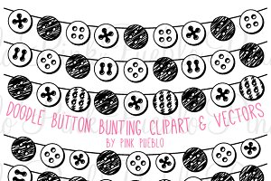 Doodle Button Bunting Clipart/Vector