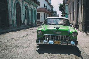 Old green car in Havana, Cuba