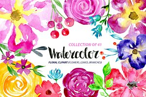 41 Watercolor floral elements