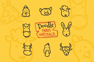 8 Doodle Icons. Farm Animals