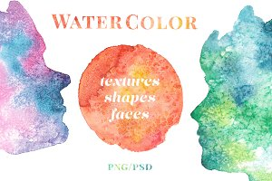 + Watercolor Faces and Planets +