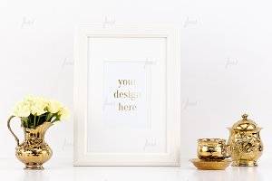 White frame rose, gold styled design