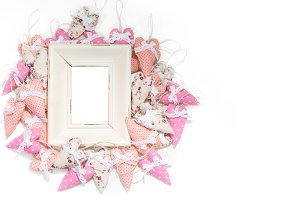 Real Photo Frame with Textile Hearts