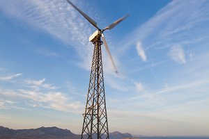 Wind turbine generating electricity