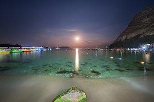Night landscape on the sea