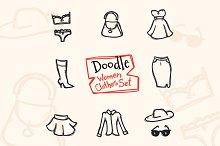 8 Doodle Icons. Women Clothes