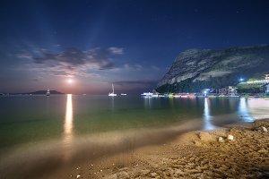 Night landscape on the seashore