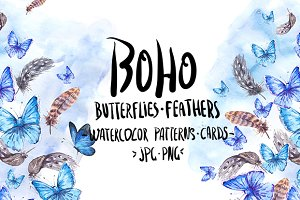 Blue Butterflies and Feathers