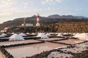 Salt evaporation ponds.