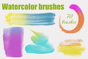 70 High Res Watercolor PS Brushes