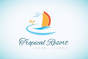 Tropical Resort Logo Template