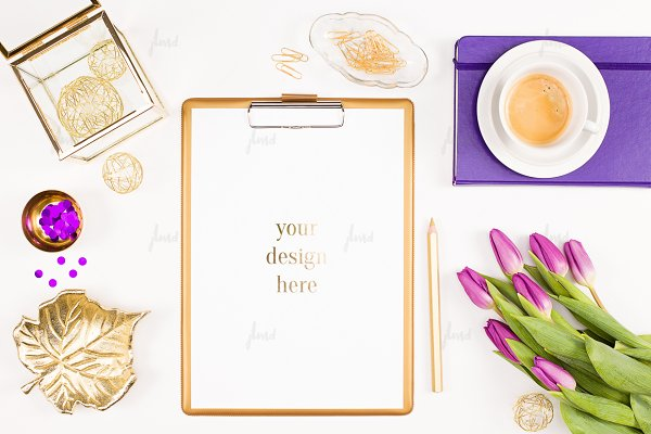 Styled desktop purple tulips