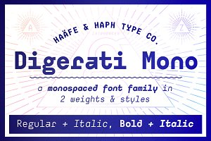 Sale! Digerati Mono Font Family