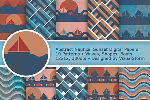Geometric Nautical Digital Paper