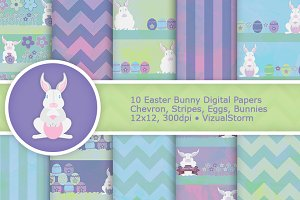 Pastel Easter Bunny Digital Papers