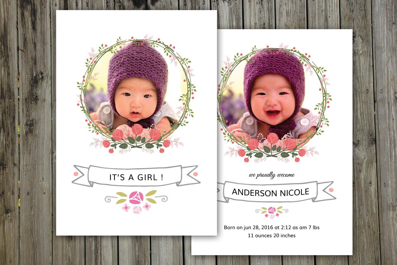 birth announcement template v07 card templates creative market