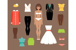 Paper doll and a set of clothes
