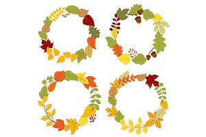 Autumn wreaths and borders