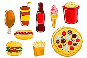 Cartoon fast food drinks and snacks