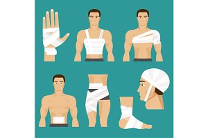 Medical set bandaged body parts