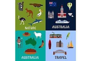 Australia travel symbols and icons