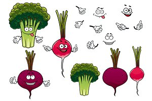 Broccoli, radish and beet vegetables