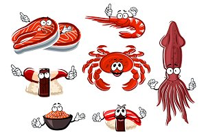 Cartoon sea animals and seafood