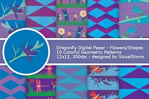 Dragonfly Digital Paper Patterns