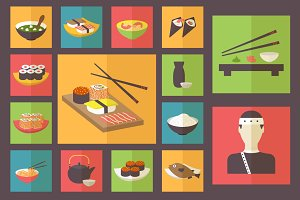 15 Sushi icons, Flat Design Set.