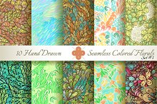 10 Colored Seamless Florals. Set #1