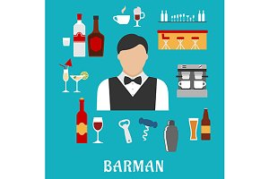 Barman and bartender flat icons