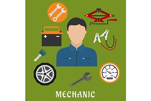 Mechanic man and car details