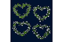 Floral heart frames and borders