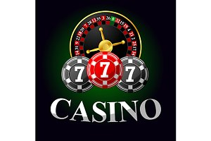 Casino icon with roulette