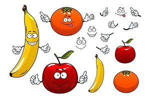 Happy banana, apple and orange