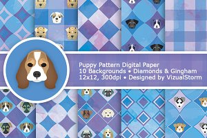 Puppy Dog Digital Paper Patterns