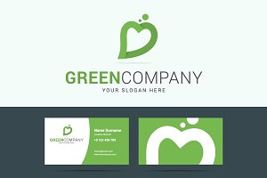 Green company business card and logo