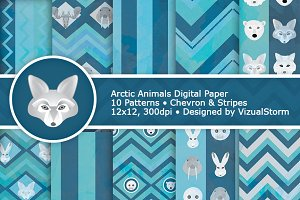 Arctic Animal Digital Paper Patterns