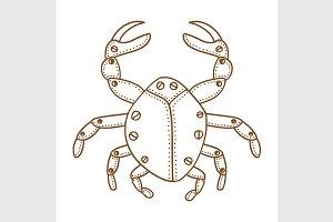 Hand drawn ornamental crab